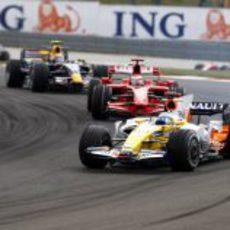 Alonso, Raikkonen y Webber