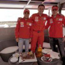 Massa, Domenicali y Raikkonen