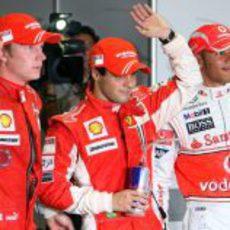 Massa, Hamilton y Raikkonen