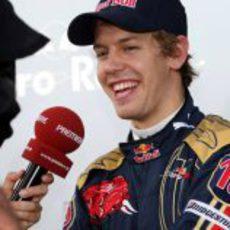 Vettel durante una entrevista