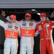 Hamilton, Raikkonen y Kovalainen