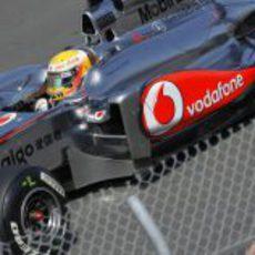 Hamilton en pista en el GP de Canadá 2011