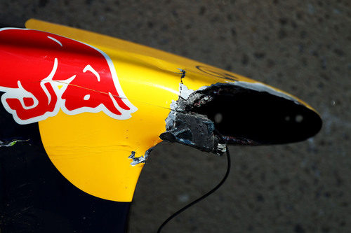 Morro roto del monoplaza de Sebastian Vettel en el GP de Canadá 2011