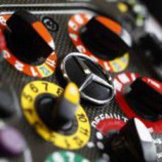 Detalle del volante de Mercedes GP en Canadá 2011