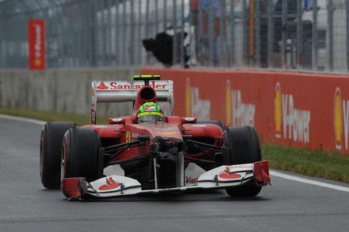 Felipe Massa con el morro partido en Montreal