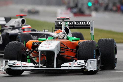 Adrian Sutil monta neumáticos intermedios en Montreal