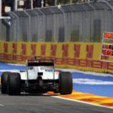 Sutil pasa por la recta de meta del Valencia Street Circuit