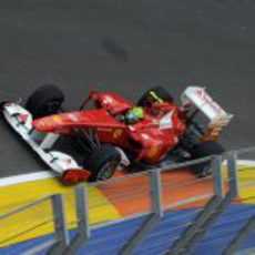 Felipe Massa rueda en el circuito urbano de Valencia