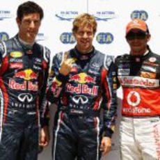 Vettel, Webber y Hamilton son los más rápidos en la clasificación de Valencia