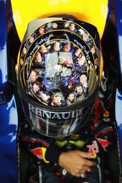 El casco de Sebastian Vettel para el GP de Gran Bretaña 2011
