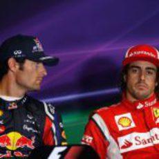 Webber y Alonso en la rueda de prensa de la FIA en Silverstone