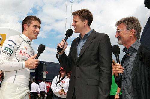 Di Resta es entrevistado por la BBC inglesa en Silverstone
