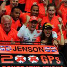 Jenson Button logró la victoria en su 200 Gran Premio de Fórmula 1