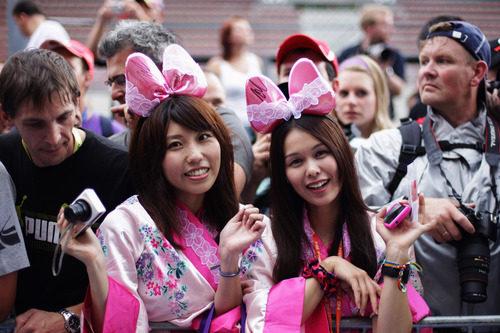 Aficionadas japonesas en el GP de Bélgica 2011