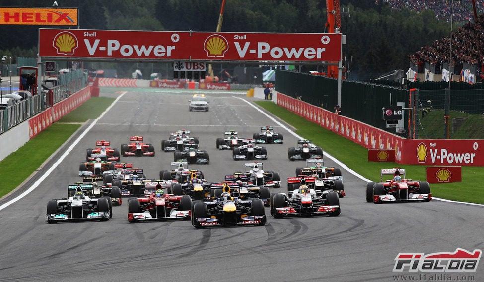 Salida del GP de Bélgica 2011