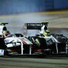 Sergio Pérez y Nico Rosberg tuvieron más que palabras en Marina Bay