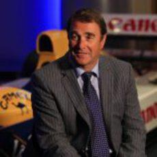 Nigel Mansell en la presentación del nuevo acuerdo de Williams con Renautl