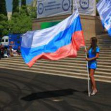La bandera rusa ondea en Sochi