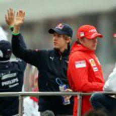 Vettel, Raikkonen y Trulli
