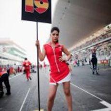 La 'pitbabe' de Jaime Alguersuari en el GP de India 2011