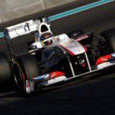 El Sauber llevado por Esteban Gutiérrez en Abu Dabi