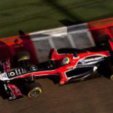 Robert Wickens rueda en pista con el monoplaza de Virgin