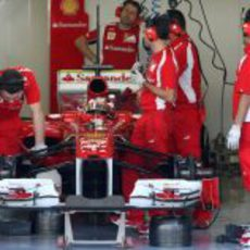 Bianchi en el box de Ferrari en Yas Marina