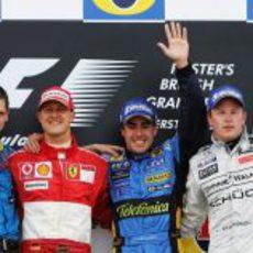 Fernando Alonso, Michael Schumacher y Kimi Räikkönen en el GP de Gran Bretaña 2006