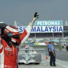 Räikkönen celebra su victoria en el GP de Malasia 2008