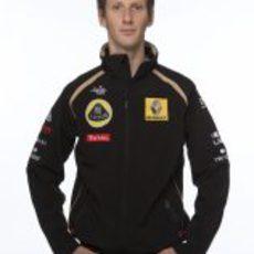 Romain Grosjean vestido con los colores de Lotus Renault GP