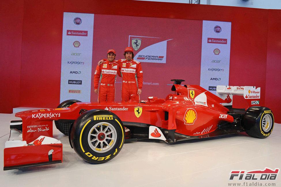 Felipe Massa, Fernando Alonso y el Ferrari F2012