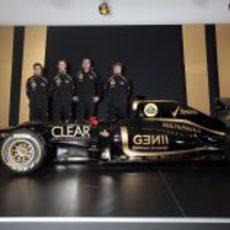 D'Ambrosio, Grosjean, Boullier, Räikkönen y el Lotus E20