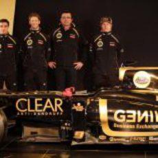 Kimi Räikkönen, Romain Grosjean, Jérôme D'Ambrosio y Eric Boullier