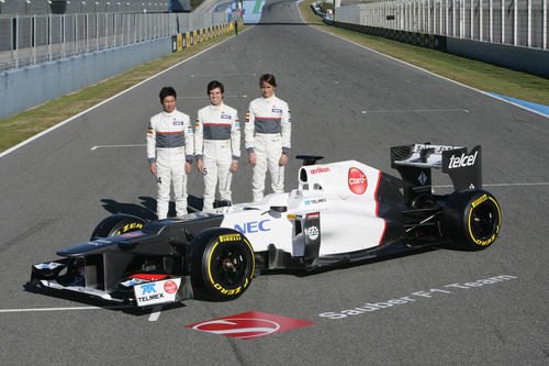 El Sauber C31 y sus tres pilotos