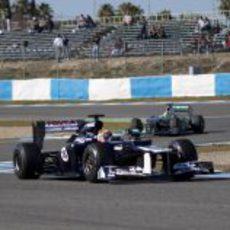 Maldonado y Rosberg en la pista de Jerez