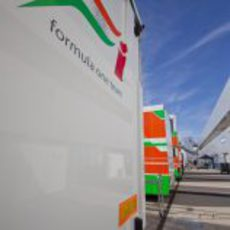 Camiones de Force India en Jerez