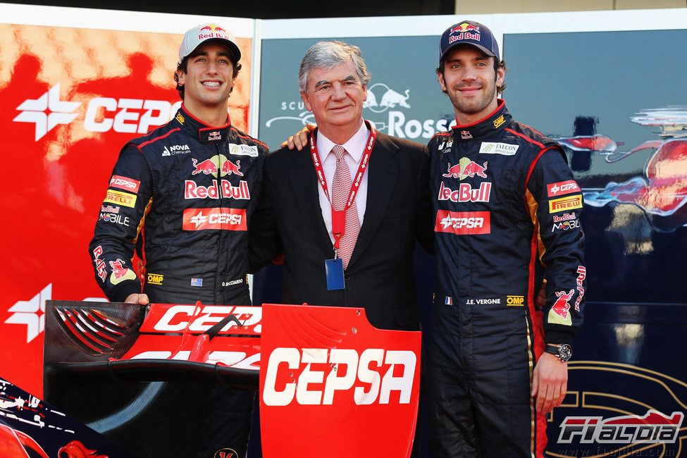 Daniel Ricciardo, Santiago Bergareche y Jean-Eric Vergne