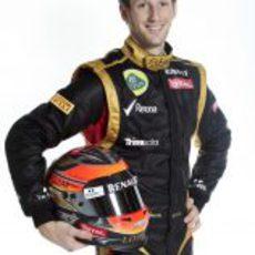Romain Grosjean con su casco para 2012