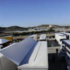 Vista del circuito de Jerez desde el 'paddock'