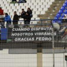 Cartel de apoyo a Pedro de la Rosa en Jerez