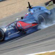Pasada de frenada de Jenson Button en Jerez