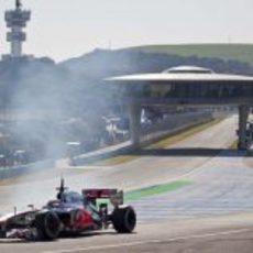 Lewis Hamilton con el McLaren en Jerez
