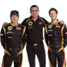 Eric Boullier junto a Räikkönen y Grosjean