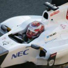 Kamui Kobayashi en el 'cockpit' del circuito de Jerez