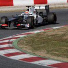 Pérez afronta una curva del Circuit
