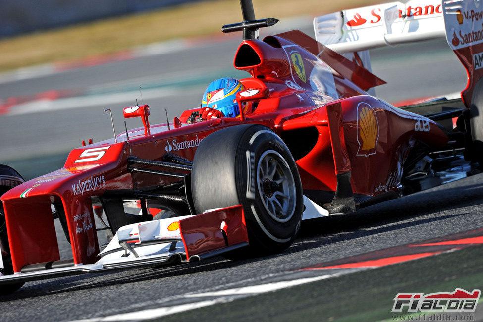 El Ferrari F2012 en los test de Barcelona