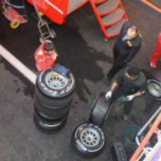 Los técnicos de Pirelli trabajan en los neumáticos