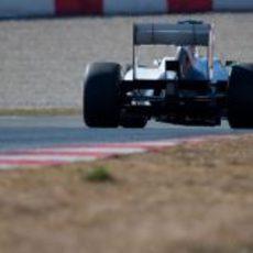 El Sauber de Pérez visto desde atrás