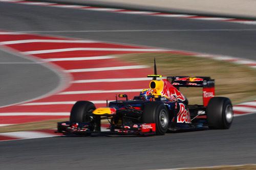 Mark Webber con el RB8 en los test de Barcelona