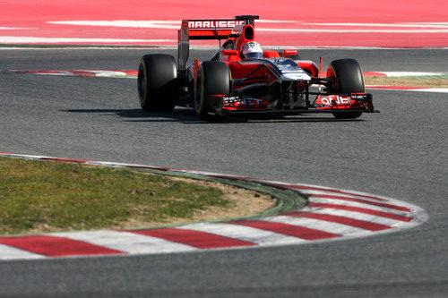 Timo Glock con el Marussia en Barcelona